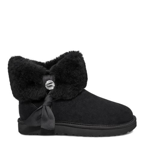 UGG Black Cinched Fur Mini Boot
