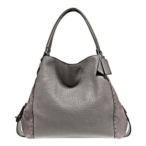 Coach Heather Grey Mixed Leather Edie 32 Shoulder Bag