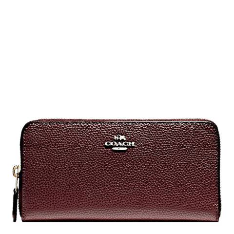 Coach Oxblood Accordion Zip Wallet