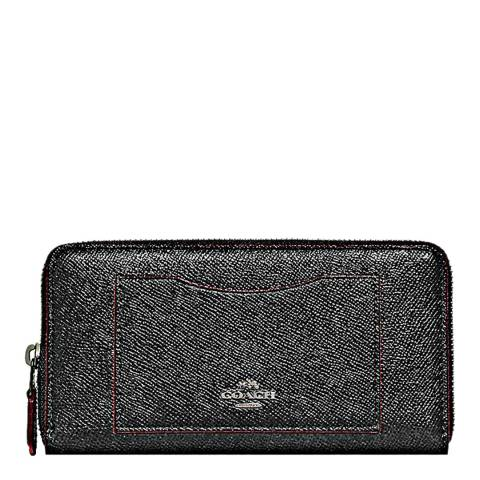 Coach Black Glitter Accordion Zip Wallet