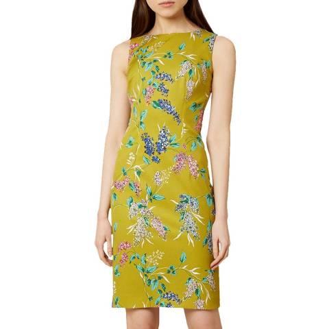 Hobbs London Chartreuse Floral Moira Dress