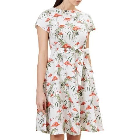 Hobbs London White Print Sorrento Linen Dress
