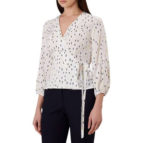 Hobbs London Ivory Print Lucinda Top