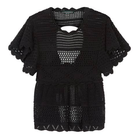 ALEXA CHUNG Black Patched Panel Cotton Blend Top