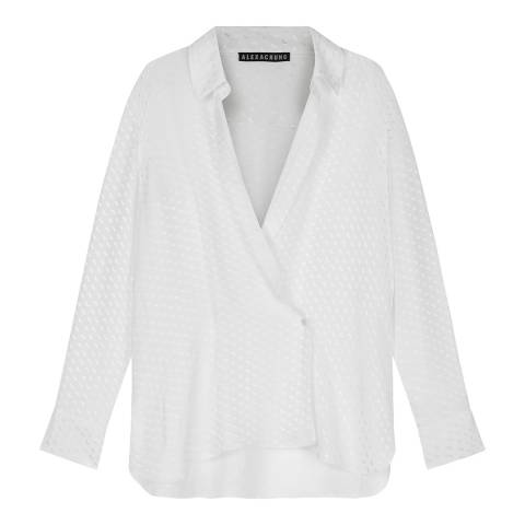 ALEXA CHUNG Ivory Double Breasted Cotton Blend Shirt