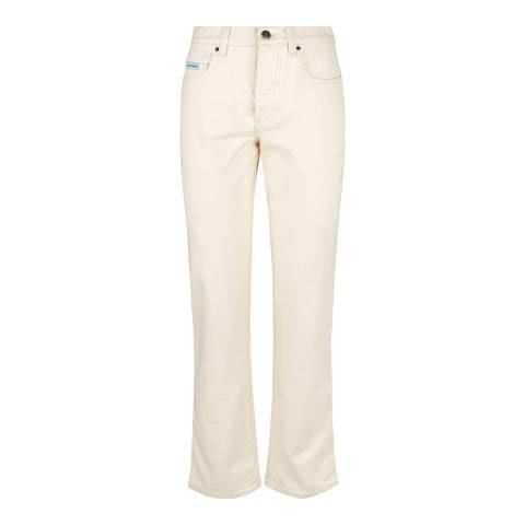 ALEXA CHUNG Cream Cigarette Leg Cotton Stretch Jeans