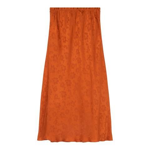 ALEXA CHUNG Rust Bias Cut Cotton Stretch Skirt