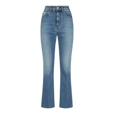 ALEXA CHUNG Mid Blue Wash Flares Cotton Stretch Jeans