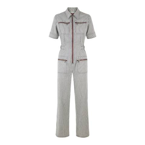 ALEXA CHUNG Navy/Ecru Zip Cotton Stretch Jumpsuit