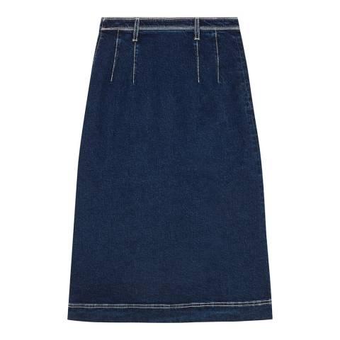 ALEXA CHUNG Indigo A Line Cotton Stretch Denim Skirt