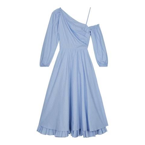 ALEXA CHUNG Blue Pinstripe One Shoulder Cotton Dress