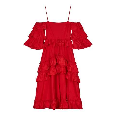 ALEXA CHUNG Red Ruffle Tier Dress