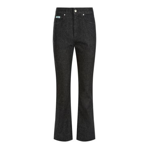 ALEXA CHUNG Black Cropped Flared Cotton Stretch Jeans