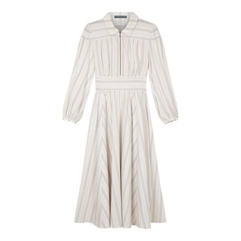 ALEXA CHUNG Cream/Multi Zip Front Cotton Dress