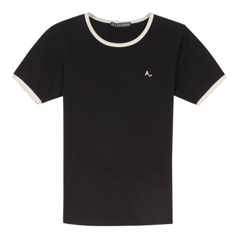 ALEXA CHUNG Black Embroidered A Ringer Cotton T-Shirt