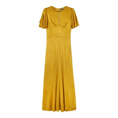 ALEXA CHUNG Yellow Zip Cotton Blend Jersey Dress