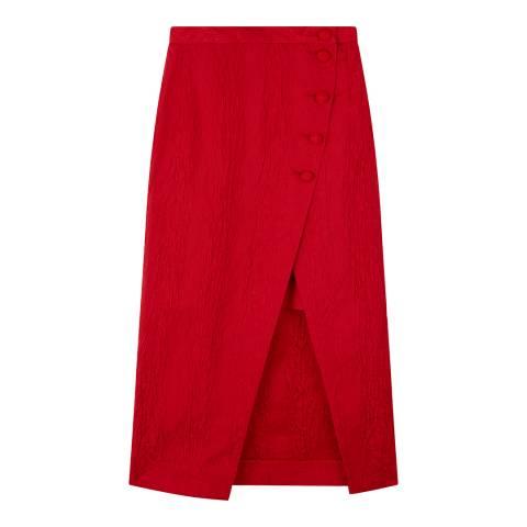 ALEXA CHUNG Red Front Split Pencil Skirt