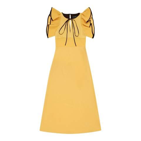 ALEXA CHUNG Mustard Long Ruffle Detail Dress