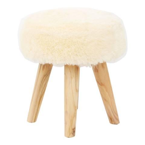 Fifty Five South Kendari Stool, Faux Fur, Teak Wood