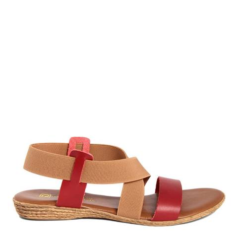Gagliani Renzo Red Leather Cross Strap Wedge Sandal
