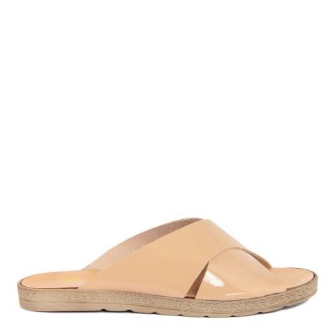 Gagliani Renzo Beige Patent Flat Sandals
