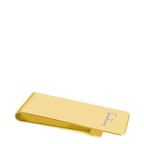 """Stephen Oliver 18K Gold Plated Initial """"F"""" Money Clip"""