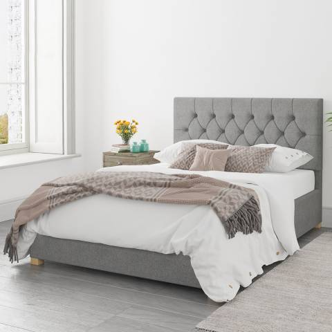 Aspire Furniture Olivier Grey Double Eire Linen Ottoman Bed