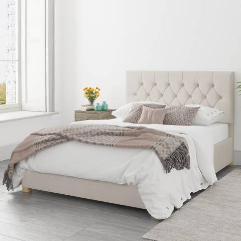 Aspire Furniture Olivier Off White Superking Eire Linen Ottoman Bed