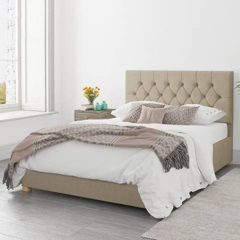 Aspire Furniture Olivier Natural Double Eire Linen Ottoman Bed