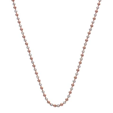 Emozioni 30 inch Sterling Silver and Rose Gold Plated Accent Bead Chain