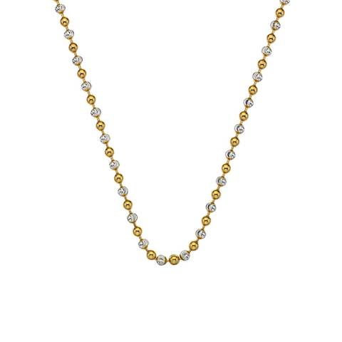 Emozioni Emozioni 18 inch Sterling Silver and Yellow Gold Plated Bead Chain