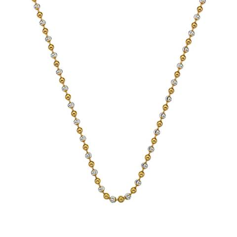 Emozioni 24 inch Sterling Silver and Yellow Gold Plated Accent Bead Chain