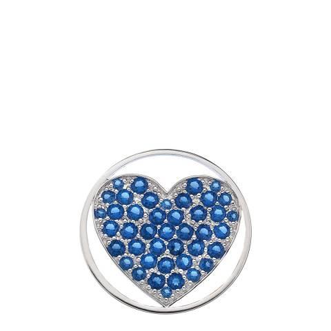 Emozioni Azure Sparkle Heart Coin - 33mm