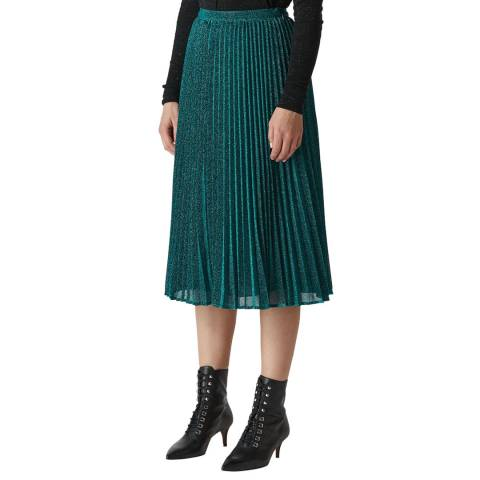 WHISTLES Green Sparkle Pleated Skirt