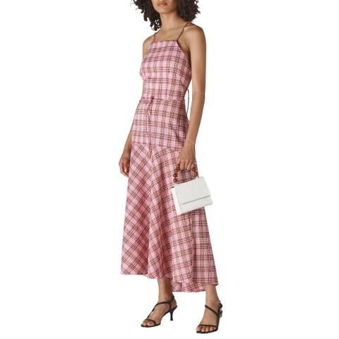 WHISTLES Pink Check Julietta Strappy Dress