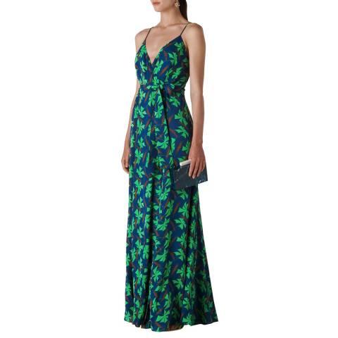 WHISTLES Navy Graphic Clover Noa Maxi Dress