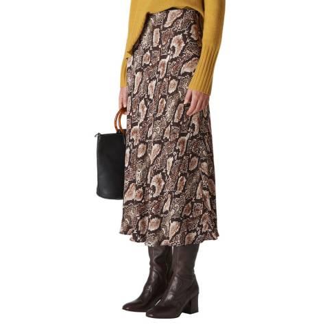 WHISTLES Brown Snake Print Skirt