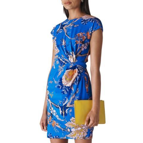 WHISTLES Blue Floral Exotic Silk Blend Dress