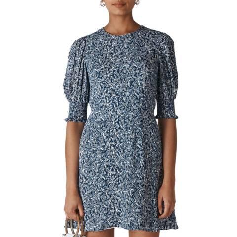 WHISTLES Navy Print Josefina Etched Dress