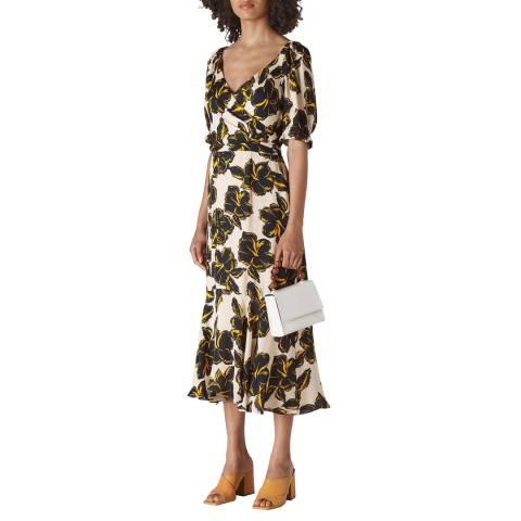 WHISTLES White Tropical Flower Silk Dress