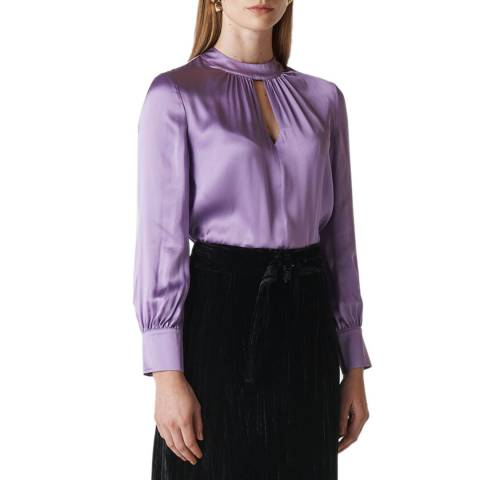 WHISTLES Lilac Cora Silk Satin Blouse