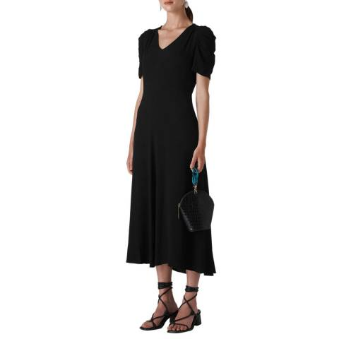 WHISTLES Black Jolanta Midi Dress