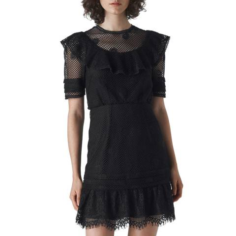 WHISTLES Black Lace Mariah Ruffle Dress