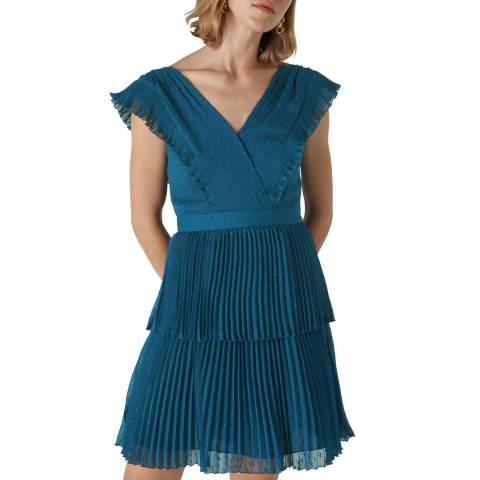 WHISTLES Blue Penelope Tiered Dobby Dress