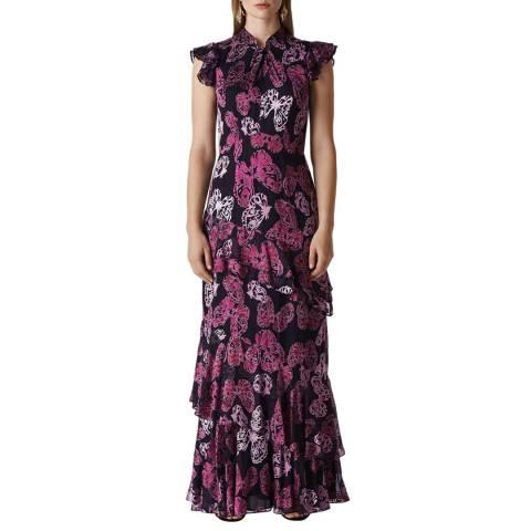 WHISTLES Purple Butterfly Devore Maxi Dress