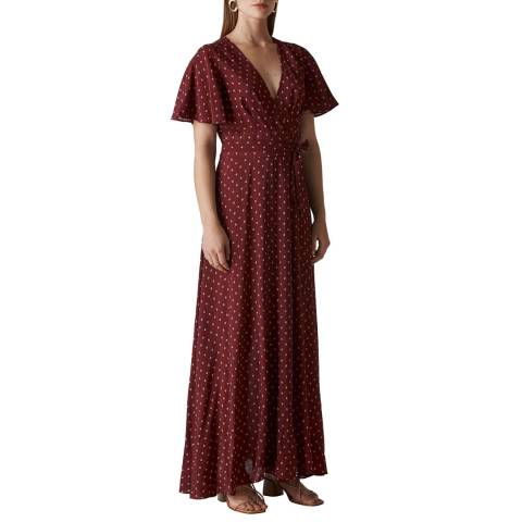 WHISTLES Deep Red Print Woodblock Wrap Dress