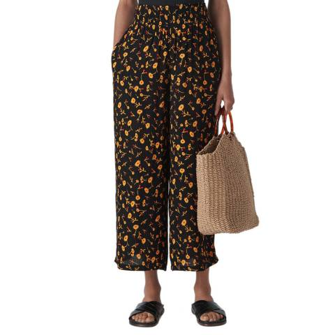 WHISTLES Black Aster Print Trousers