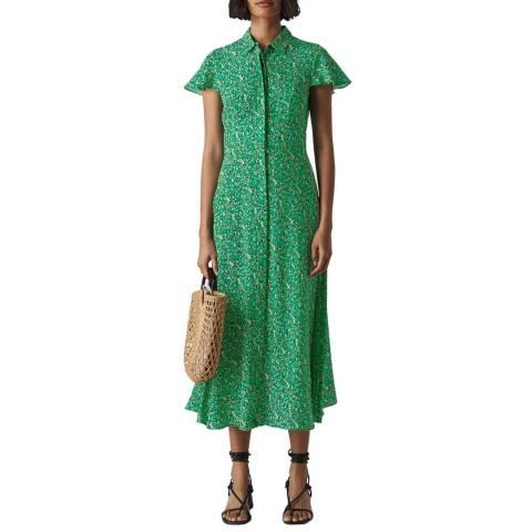 WHISTLES Green Ditsy Blossom Midi Shirt Dress