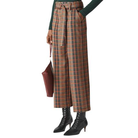 WHISTLES Multi Check Wide Leg Trousers