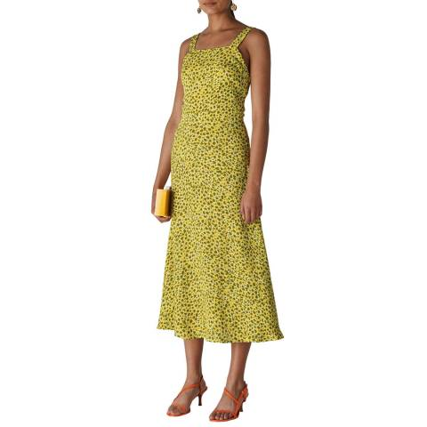 WHISTLES Yellow Leopard Llora Clouded Dress
